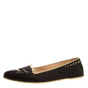 Charlotte Olympia Black Satin Cat Nap Slipper Set L