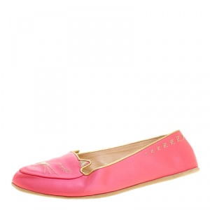 Charlotte Olympia Pink Satin Cat Nap Slipper Set XS