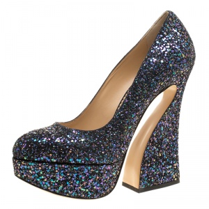 Charlotte Olympia Metallic Two Tone Coarse Glitter Millicent Platform Pumps Size 41