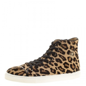 Charlotte Olympia Beige Leopard Print Pony Hair Purrfect High Top Sneakers Size 39.5