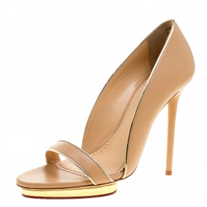 Charlotte Olympia Beige Leather Christine Open Toe Sandals Size 41