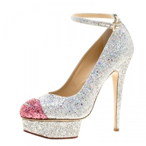 Charlotte Olympia Two Tone Glitter Kiss Me Dolores! Ankle Strap Platform Pumps Size 40
