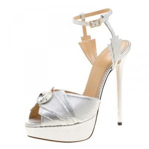 Charlotte Olympia Metallic Silver Leather Sky Scraper Crystal Embellished Peep Toe Ankle Strap Platform Sandals Size 40
