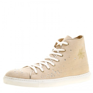 Charlotte Olympia Beige Linen Bejeweled High Top Sneakers Size 40
