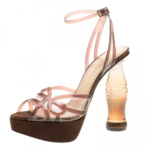 Charlotte Olympia Brown Jelly Soda Cola Heel Ankle Wrap Platform Sandals Size 39