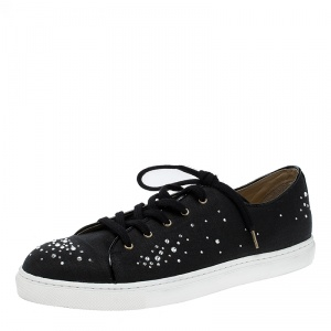 Charlotte Olympia Black Crystal Embellished Linen Bejeweled Low Top Sneakers Size 41
