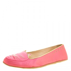 Charlotte Olympia Pink Satin Cat Nap Slipper Set S