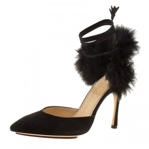 Charlotte Olympia Black Suede and Fur Trim Tango Pointed Toe Sandals Size 38.5