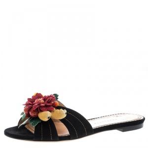 Charlotte Olympia Black Suede Tropical Floral Embellished Flat Slides Size 36
