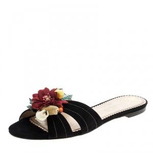 Charlotte Olympia Black Suede Tropical Floral Embellished Flat Slides Size 40