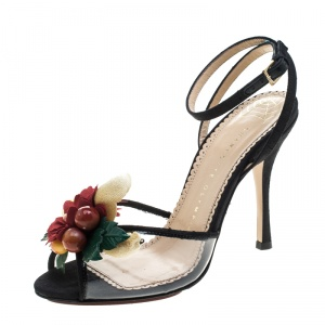 Charlotte Olympia Black Silk And PVC Tropicana Embellished Sandals Size 40.5