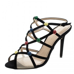 Charlotte Olympia Black Suede and Mesh Spot On Multicolor Stud Embellished Cut Out Sandals Size 40