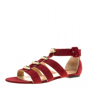 Charlotte Olympia Garnet Red Suede One More Kiss Flat Gladiator Sandals Size 40