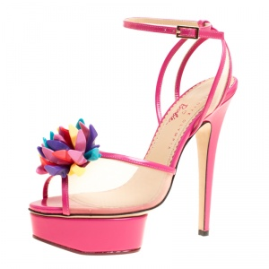 Charlotte Olympia Pink Leather and Mesh Pomeline Peep Toe Platform Sandals Size 38.5