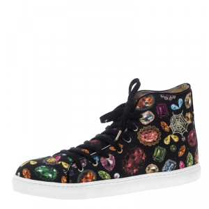 Charlotte Olympia Multicolor Jewel Print Canvas High Top Sneakers Size 39.5