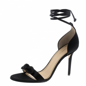 Charlotte Olympia Black Satin Shelley Bow Embellished Ankle Wrap Sandals Size 38.5