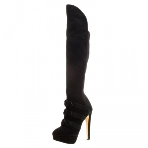 Charlotte Olympia Black Suede Alda Over The Knee Platform Boots Size 37