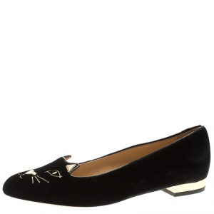 Charlotte Olympia Black Kitty Embroidered Velvet Flats Size 41