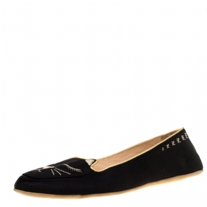 Charlotte Olympia Black Satin Cat Nap Slipper Set M