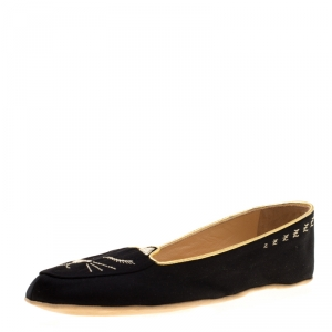 Charlotte Olympia Black Satin Cat Nap Slipper Set S