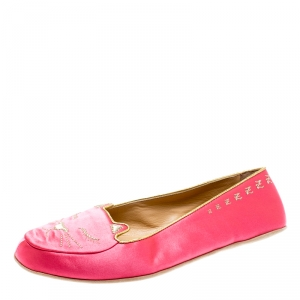 Charlotte Olympia Pink Satin Cat Nap Slipper Set L