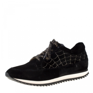 Charlotte Olympia Black Velvet Work It! Sneakers Size 40
