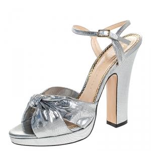 Charlotte Olympia Metallic Silver Lame Fabric Farrah Knot Platform Sandals Size 40