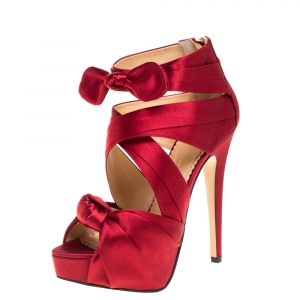 Charlotte Olympia Red Satin Andrea Knotted Platform Sandals Size 35 - used