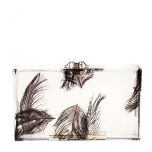 Charlotte Olympia Clear Feather Print Perspex Pandora Classic Box Clutch