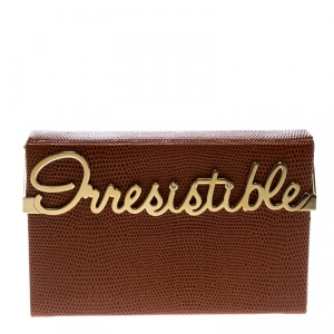 Charlotte Olympia Brown LIzard Embossed Leather Irresistible Vanina Clutch
