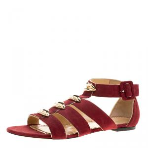 Charlotte Olympia Garnet Red Suede One More Kiss Flat Gladiator Sandals Size 38.5