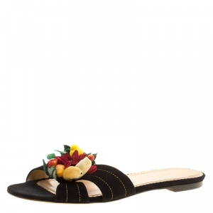 Charlotte Olympia Black Suede Flower Embellished Flat Sandals Size 39