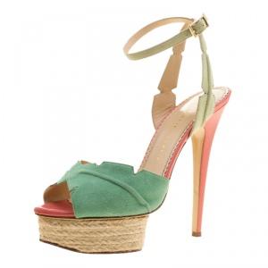 Charlotte Olympia Green Suede Isla Leaf Espadrille Platform Sandals Size 40