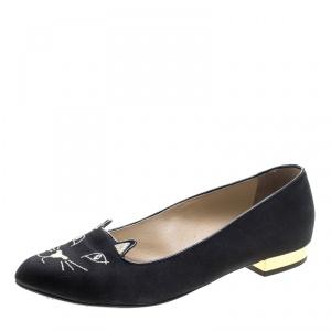 Charlotte Olympia Black Satin Kitty Ballet Flats Size 37.5