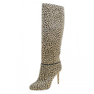 Charlotte Olympia Beige Leopard Print Pony Hair Corine Knee High Boots Size 36