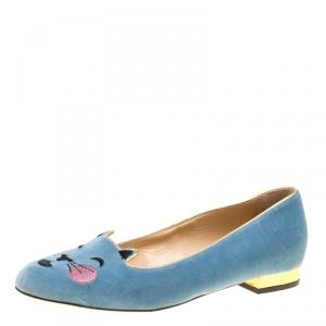 Charlotte Olympia Grey Velvet Emoticats Cheeky Kitty Flats Size 38