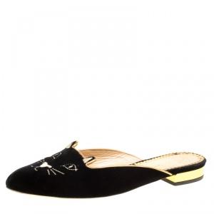 Charlotte Olympia Black Velvet Kitty Slip On Flats Size 38