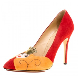 Charlotte Olympia Red Suede Sleeping Beauty Pumps Size 38.5