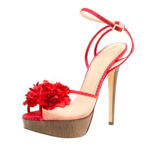 Charlotte Olympia Red Satin and Mesh Pomeline Flower Embellished Peep Toe Platform Sandals Size 40.5