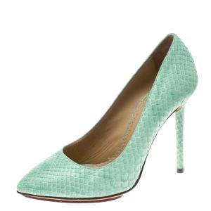Charlotte Olympia Mint Green Python Monroe Pumps Size 36