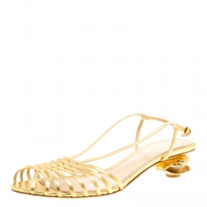 Charlotte Olympia Metallic Gold Leather Shelly Faux Pearl Embellished Heel Slingback Sandals Size 39