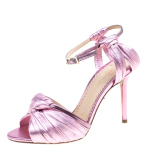 Charlotte Olympia Metallic Pink Ruched Leather Broadway Ankle Strap Sandals Size 36