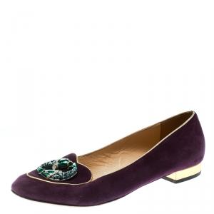 Charlotte Olympia Purple Suede Birthday Pisces Zodiac Flats Size 39