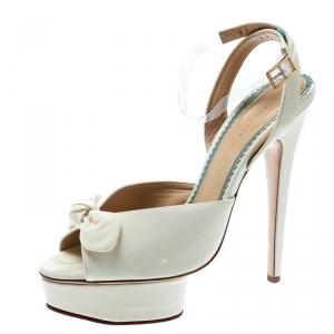 Charlotte Olympia Cream Satin Serena Bow Ankle Strap Platform Sandals Size 41