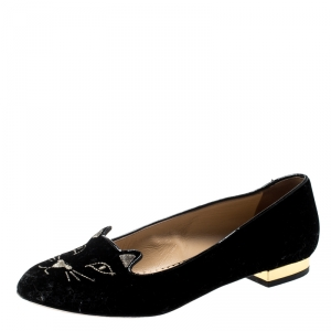 Charlotte Olympia Black Velvet Kitty Smoking Slippers Size 36.5