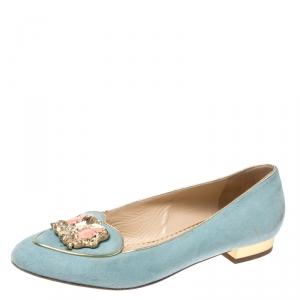 Charlotte Olympia Blue Suede Birthday Zodiac Gemini Ballet Flats Size 37