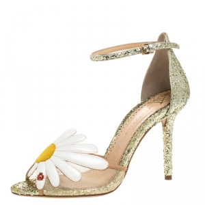 Charlotte Olympia Gold/White Glitter and Leather Margherita Ankle Strap Sandals Size 36 - used