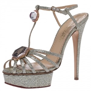 Charlotte Olympia Silver Glitter Fabric Leading Lady Platform Ankle Strap Sandals 41 - used