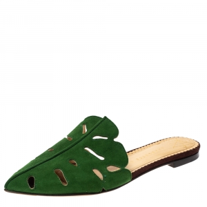 Charlotte Olympia Green Suede Verdant Flat Mules Size 36 - used