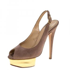 Charlotte Olympia Beige Suede Slingback Peep Toe Platform Sandals Size 37.5 - used